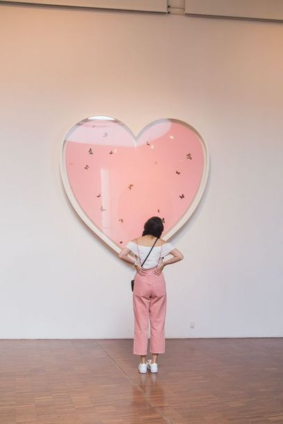 Pretty In Pink Heart Background Cute Baby Pink High Waisted Mom Jeans With Bright White Summer Bardot Off The Shoulder Top