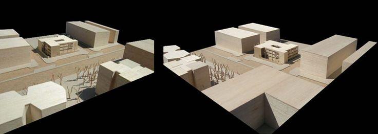 CENTRO DE SALUD, CÓRDOBA.  Javier Terrados  DIMENSIONES: 38 x 32 cm   ESCALA: 1/500   MATERIALES: Chapa de abedul, madera de balsa, metacrilato.
