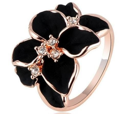 Jewelry  Rose plated   gold Plt s Austrian Crystal White Enamel Flower/Wedding Rings For Women R056 Jewellery ABC