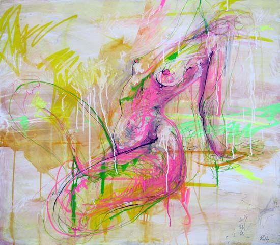 CRAIG RUDDY Untitled Pink acrylic, graffiti pen & charcoal on board 80 x 90