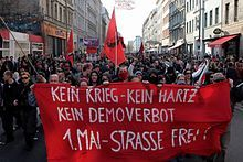 Erster Mai in Kreuzberg , Germany Celebration and demonstration each May 1st that used to be besieged by riots and police activity. Now renamed My Fest - it is a time to celebrate with live bands, food and friends.