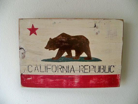 Heavily Distressed  Small California Flag Wood Wall Hanging