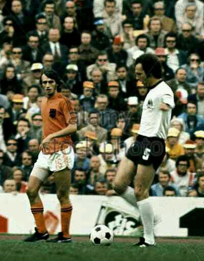 West Germany 2 Holland 1 in 1974. Franz Beckenbaur passes the ball at the World Cup Final