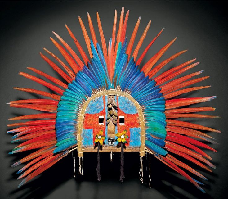 Brazil ~ Mato Grosso, Rio Tapirape | Upé face mask from the Tapirapé Indians | Wood decorated with feathers, mother of pearl, natural fiber | Est. 8000 -10,000 € ~ (Dec '11)
