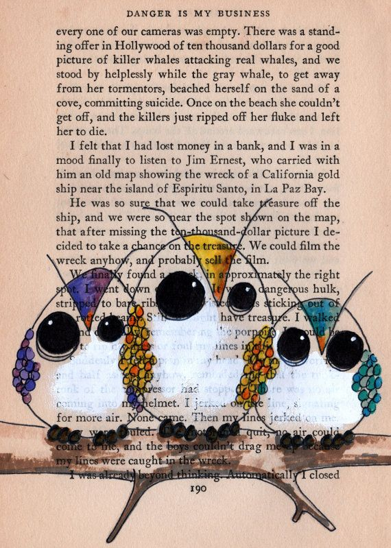 owl lilustration art owl custom drawing on old book by cookstah - Book Pages Art