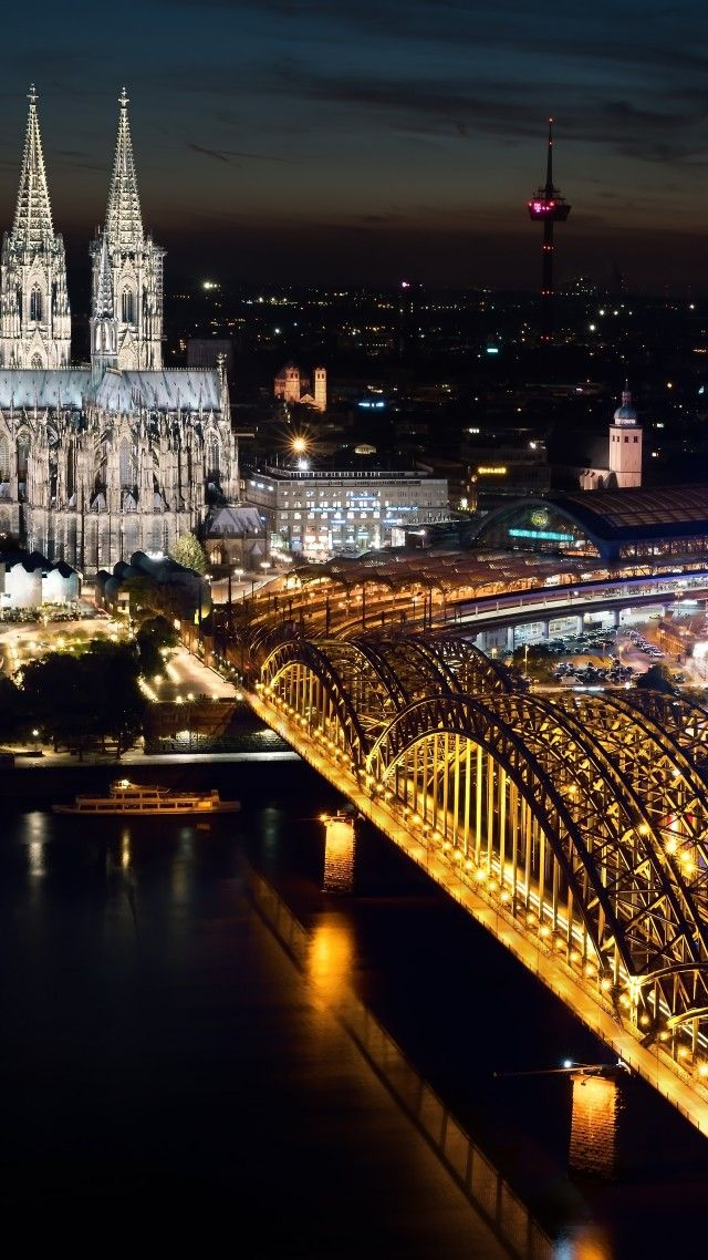 Cologne Cathedral, Hohenzollern bridge, Germany, Cologne, night, 5k (vertical)