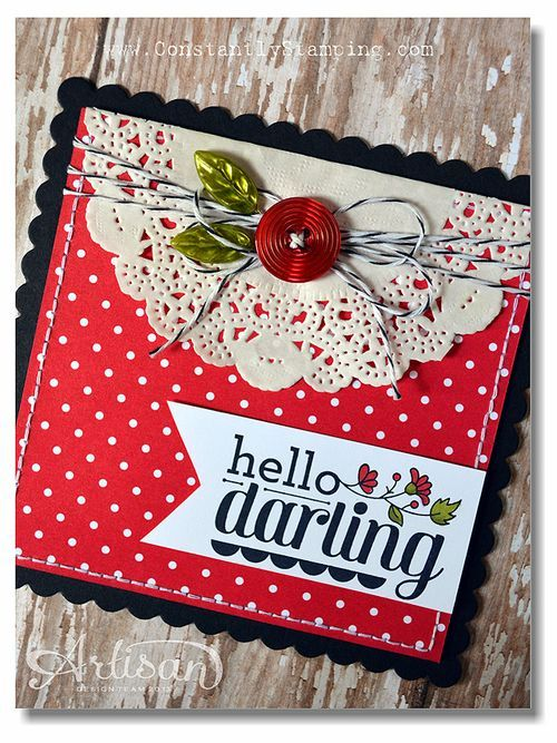 I like the red polka-dots with the doily.