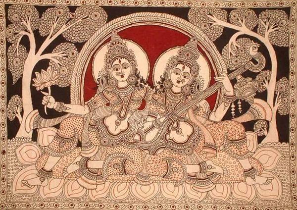 Indian Painting Styles...Kalamkari Paintings (Andhra Pradesh)-saraswati_and_lakshmi_pd46.jpg