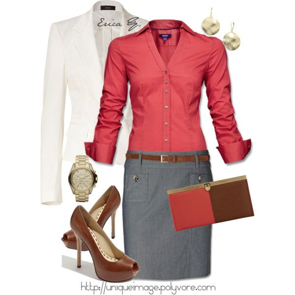 Coral button down, denim colored pencil skirt, white  blazer, brown peep toe heels & matching skinny belt with simple gold accessories. Totally doable. A purse that matches perfectly... right...  Still, very put together.