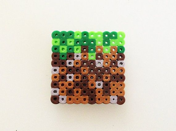 Minecraft grass block made out of perler beads on etsy 5 for What is dirt made out of