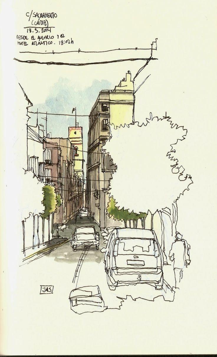 Calle Sacramento - Cádiz, Spain, by JAS (2014) | Urban Sketchers
