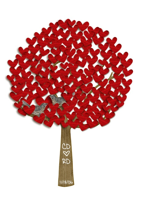 framed for bedroom?--have wedding guests write a note on each heart that you put in wedding invite and request to be sent back with reply. Put the hearts on the tree and hang as a wedding keepsake <3