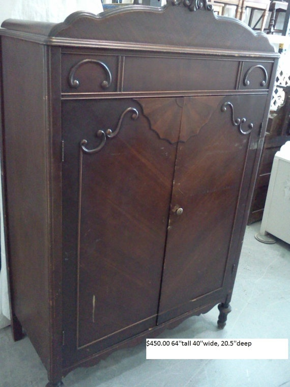 Perfect Classy Storage For Your Home Bar! Antique Armoire Wardrobe.  $450.00, Via Etsy