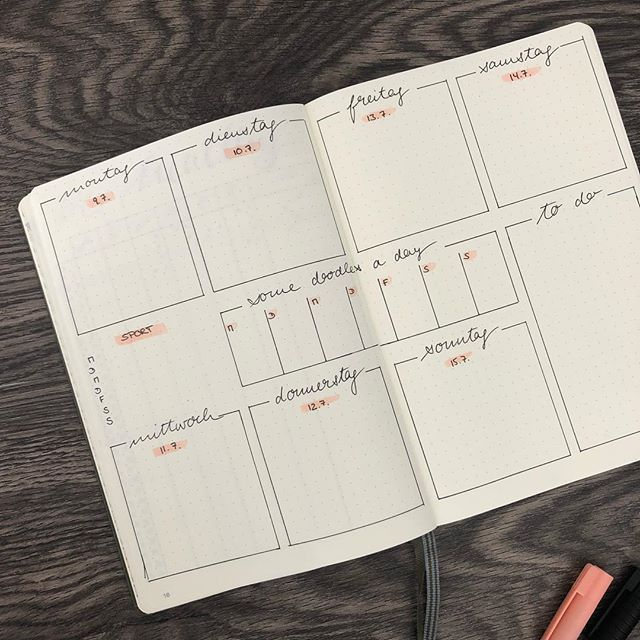 The weekly overview in the Bullet Journal – 5 variants