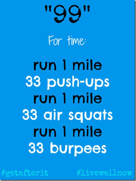 99 WOD run---hoping that doing single miles will help my running times and I KNOW I need push ups and squats.