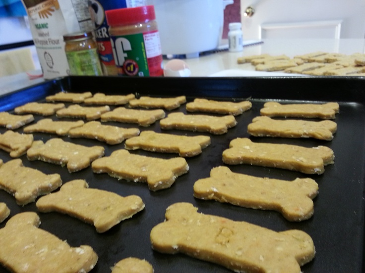Homemade dog treats - 1 can baby food (I use chicken), 1/2 cup creamy peanut butter, 2 tbsp water, 2 cups flour (organic whole wheat), 1 egg, 1/2 cup oats.  My dogs love them!