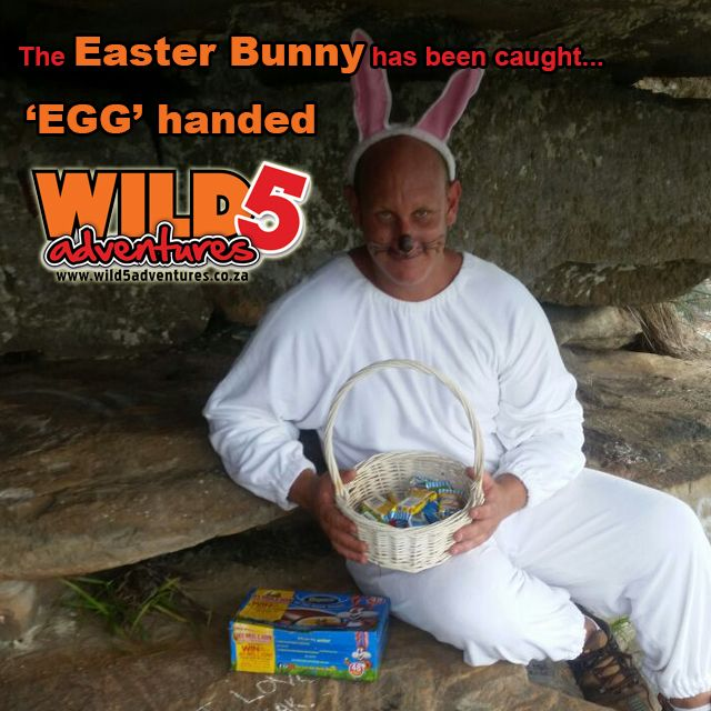 Finding the #EasterBunny while he is hiding the eggs is hard work! Can you find him at @wild5adventures ?