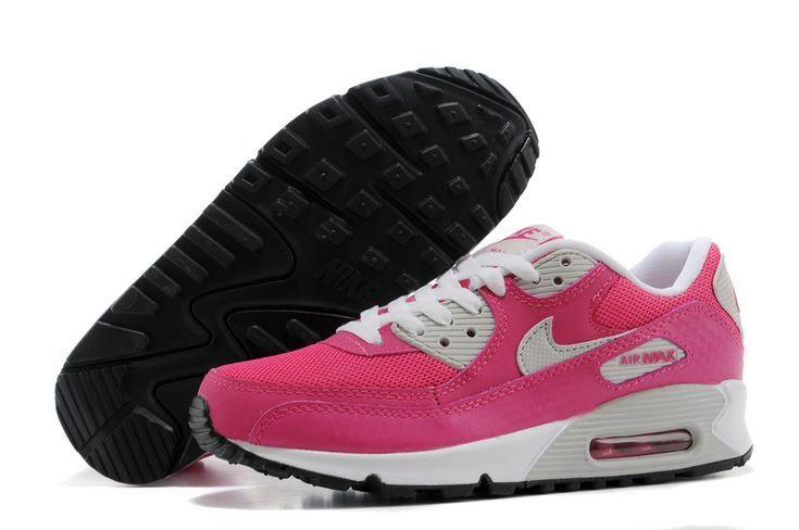 Kvinnors Nike Air Max 90 livfulla rosa metalliska silvervita