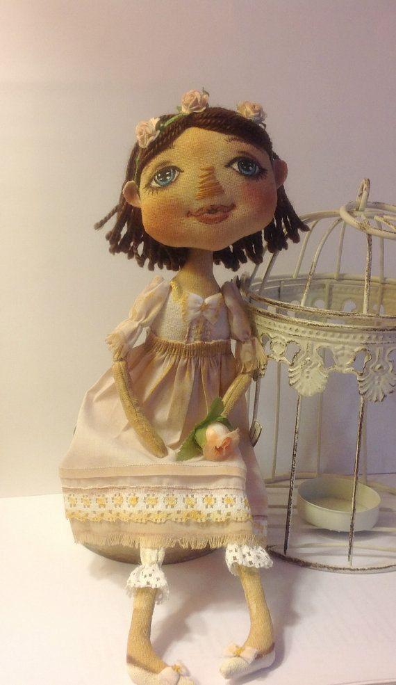 Arte muñecas paño textil muñeca recogiendo por NatashaArtDolls