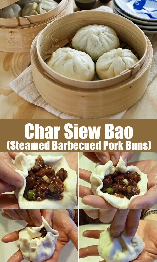 Make your own soft, white, and fine textured steamed Char Siew Bao filled with sweet barbecued pork filling. Step-by-step instructions. | Food to gladden the heart at RotiNRice.com