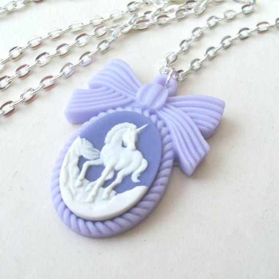 Pastel Purple Unicorn Necklace Unicorn Cameo by TemporalFlux, $16.00