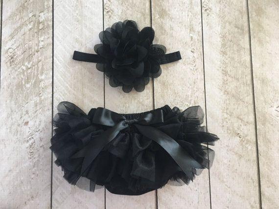 Baby Girl Increspature Tutu Bloomer & Set fascia in torta nera - neonato Foto Set - Smash - pannolino copertina - bambino regalo - compleanno - bambino regalo