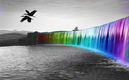 Waterfall Color Splash: Foto Pin-Up, Rainbows Colors, Arco Iris, Digital Art, Magic Places, So Pretty, Desktop Backgrounds, Rainbows Fall, Photo