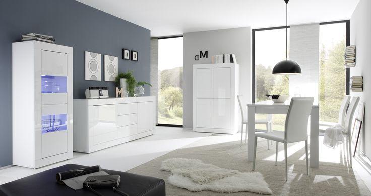 Complete woonkamer inboedel Basic Gloss volledig uitgevoerd in de kleur Hoogglans wit