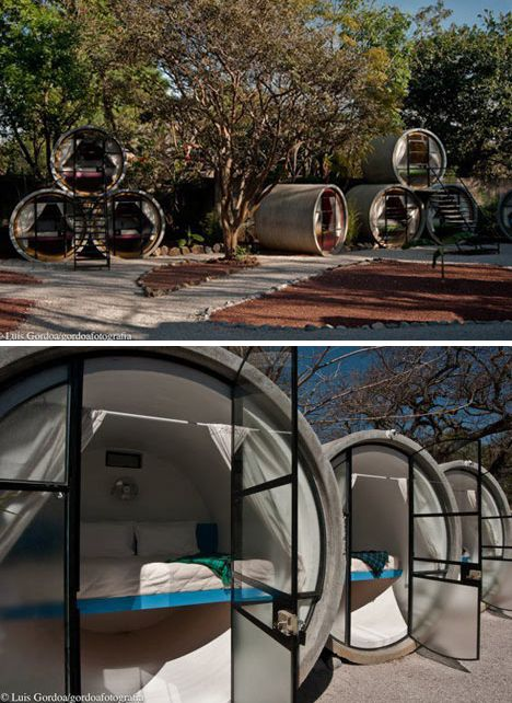 Sewer pipe bedrooms! Perfect for guests-- they won't overstay their welcome in this cozy space.