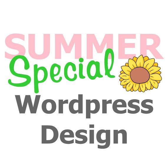 Summer Special- Wordpress blog design sale, basic website sale, header, background, signature, social icons, button, sponsor ad button on Etsy, $125.00