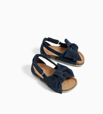 LEATHER SANDALS WITH BOW DETAIL-NEW IN-BABY GIRL | 3 months - 4 years-KIDS | ZARA Spain