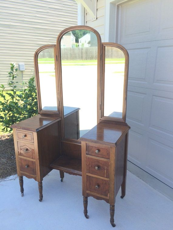 Sold vintage dressing table vanity w tri fold mirror