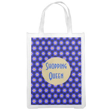 Royal Blue Flower Pattern Shopping Queen Grocery Bag - black and white gifts unique special b&w style
