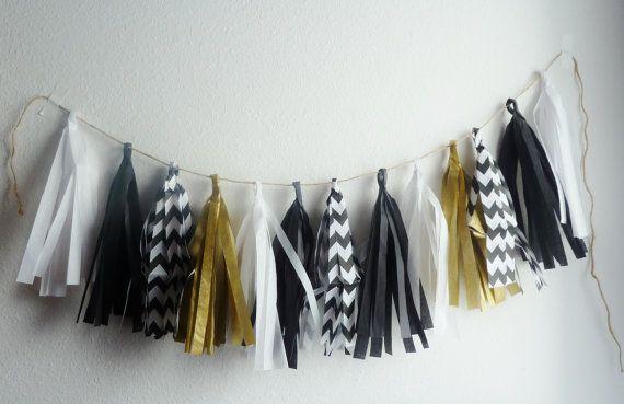 black white gold wedding tassel garland by aprincesspractically Follow me on Twitter: @SandySignatures Find my shop on Etsy: https://www.etsy.com/shop/SandysSignatures