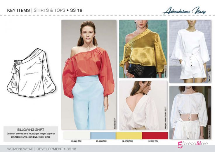 Discover the new SS18 WOVEN TOP development designs by 5forecaStore Fashion trend forecasting.