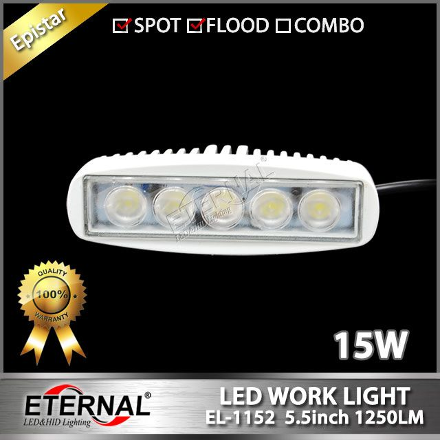 15W led work light 5in mini marine boat work lamp, spot or flood beam, white housing