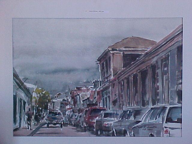 Copiapó, vista calle Atacama año 1990 costado Sur entre calles Yerbas Buenas y Yumbel. Del pintor copiapino Juan Carlos Aguirre Carrasco.