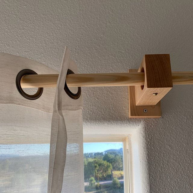 Curtain Holders Curtain Rod Holders Modern Wood Brackets Etsy