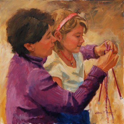 """""""La lección de tejido de punto""""  -   """"The Knitting Lesson""""   Claire Farrell   (Siglo XX, vive aún) Pintora estadounidense de Charleston, Carolina del Sur."""