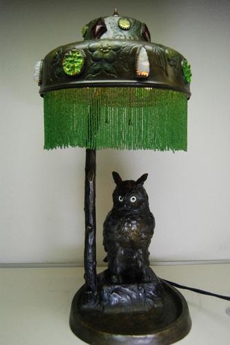 ANTIQUE OLD FIGURAL AUSTRIAN BRONZE ART NOUVEAU OWL GLASS JEWELED BANQUET LAMP | eBay