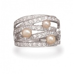 Sterling Silver Rhodium Plated Cultured Freshwater Pearl and CZ Ring is Now 20 % Off