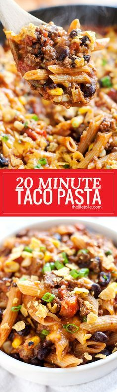 20 Minute Taco Pasta is such an easy one pot recipe. This tasty dinner is made in one skillet with ground beef and Barilla Pronto Penne Pasta. It's creamy, cheesy and full of great flavor that the whole family will love! #BarillaPronto #OnePanPronto #ad @barillaus