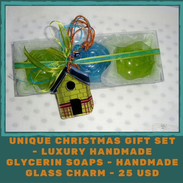 Christmas Charm For Good Luck: Luxury Green, Azure Christmas Handmade Gift Set with three small Glycerin Scented Soaps and a lovely handmade glass Christmas Charm for Good Luck in the packaging. A very elegant, stylish gift for Christmas ! Show your family, friends and relatives, your love by giving them this excellent and unusual gift for Good Luck !!!!