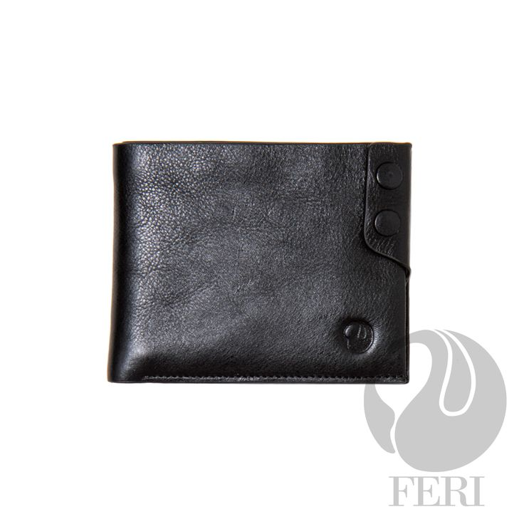 - Small black wallet - Made from high grade leather - Single fold closure  - Double snap detailing on front - Transparent window for ID or photos - 9 Credit card slots - 2 Bill compartments - Lined with customized FERI lining - Embossed with FERI Swan  Width: 12 cm Height: 9.5 cm