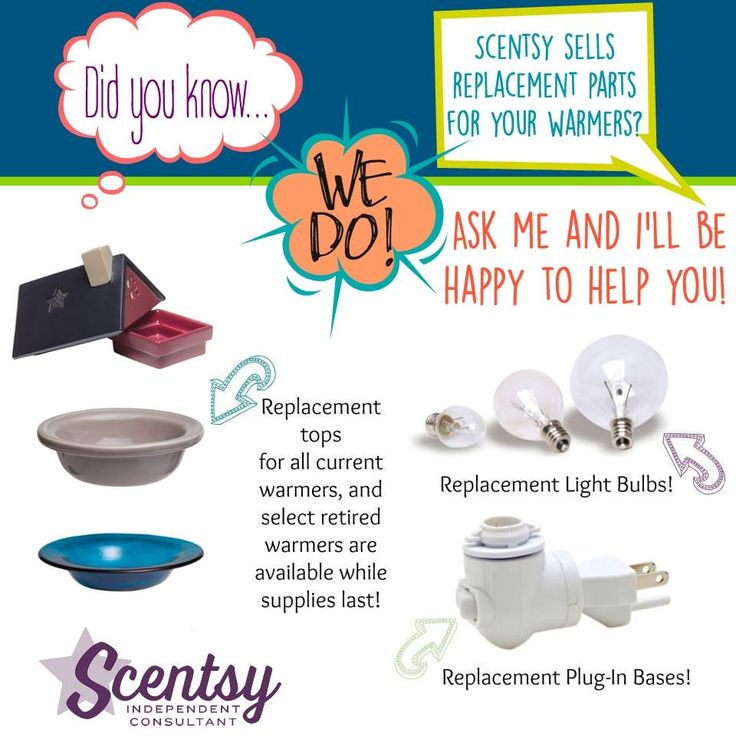 Did you know...Scentsy sells replacement parts for YOUR warmer! Ask me for info. https://casies.scentsy.us