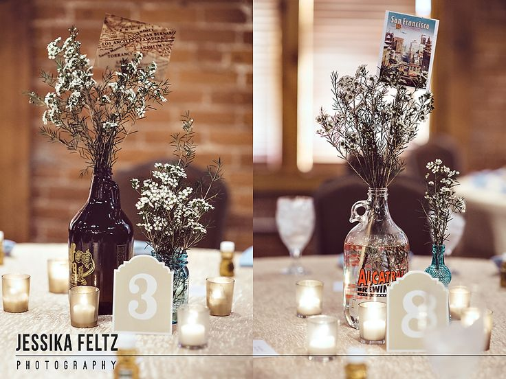 Mill Top Wedding, Indianapolis Wedding Photographer, urban wedding, beer themed wedding, brewery wedding, postcards as wedding centerpieces, neutral wedding colors