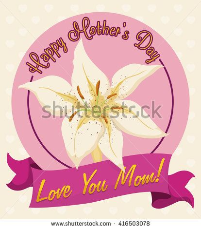 White tiger lily flower in label with deep pink color ribbon with love message for mom in her day.