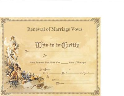 Marriage Vow Renewal Certificate | My Fake Wedding ...