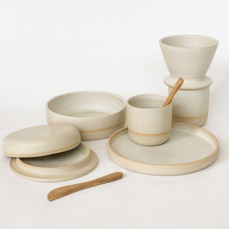 By Annemieke Boots Ceramics breakfast set stoneware white