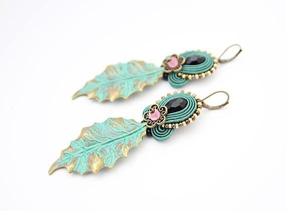 Long mint earrings emerald green soutache earrings green